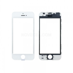 A+ Front Screen Glass Lens +  Frame for iPhone 5s - White