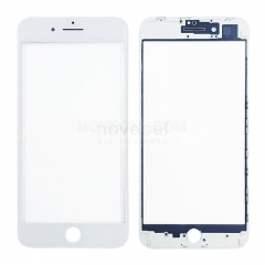 (Super High Quality) Front Glass with Frame for iPhone 8 Plus - White